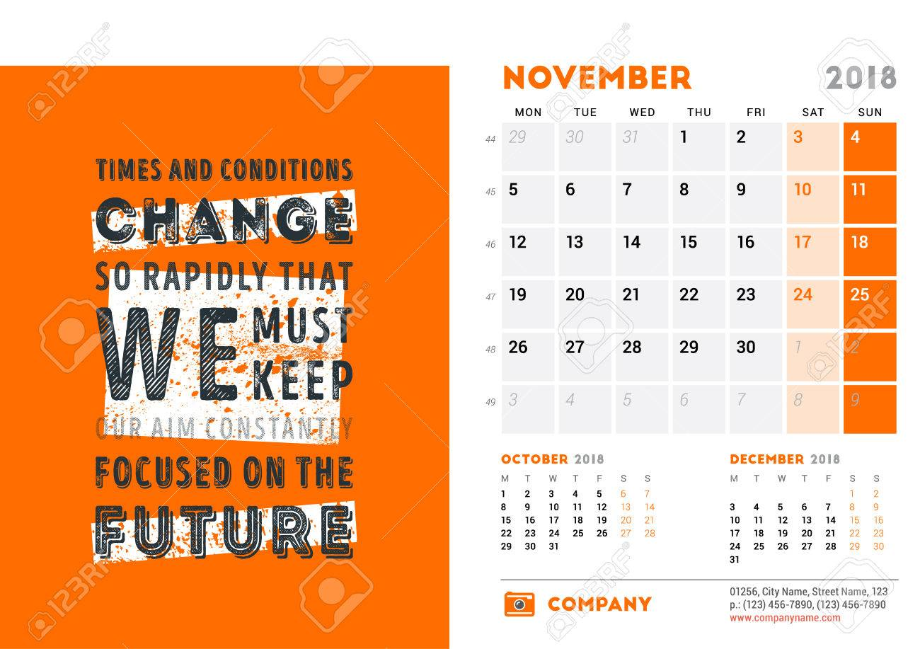 Calendar Template For 2018 Year November Design Template With