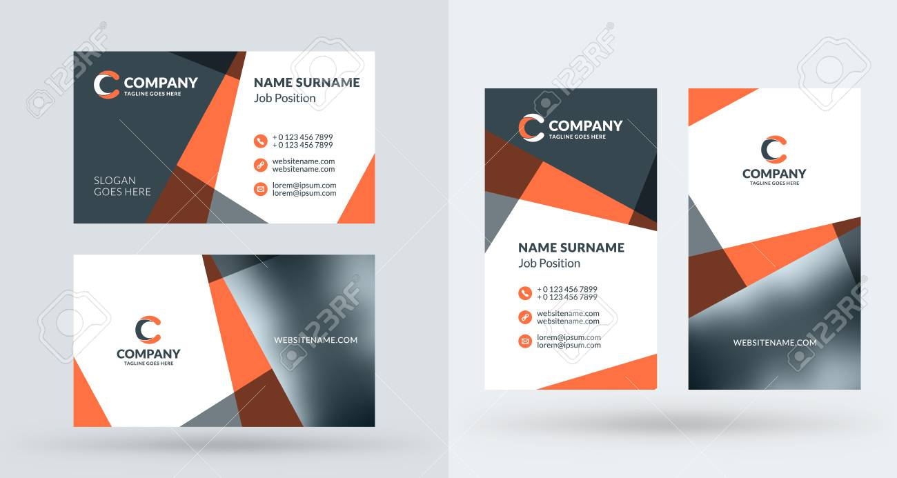 Double sided creative business card template portrait and landscape double sided creative business card template portrait and landscape orientation horizontal and vertical fbccfo Gallery