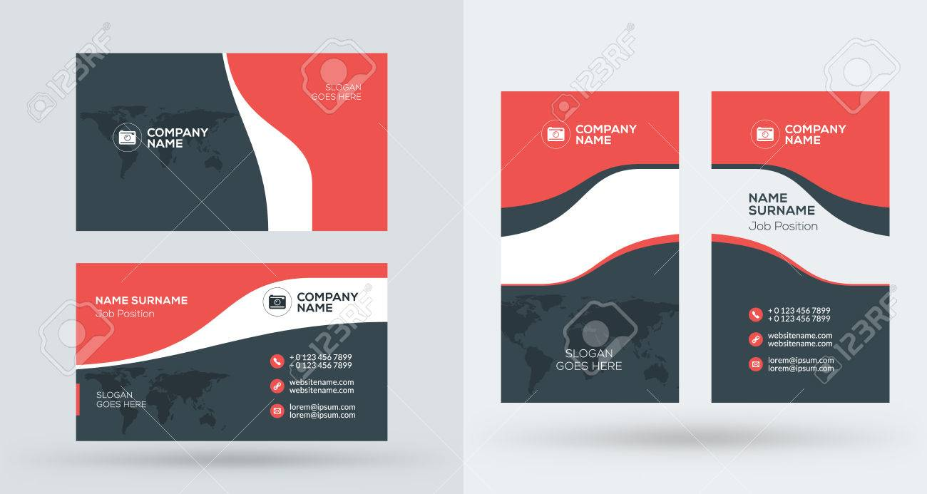 Double-sided Creative Business Card Template. Portrait And ...