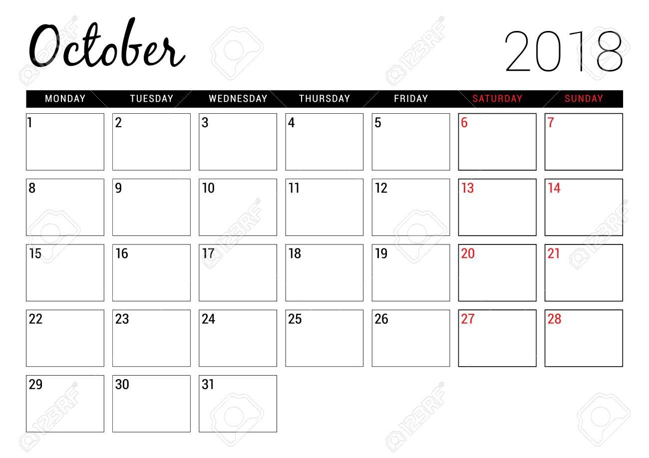 october 2018 printable calendar planner design template week starts on monday stationery design