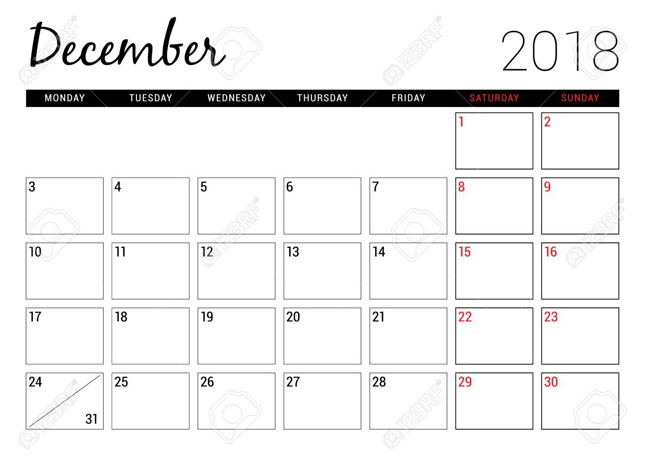 picture about Printable Calendar Dec titled December 2018. Printable calendar planner layout template. 7 days..