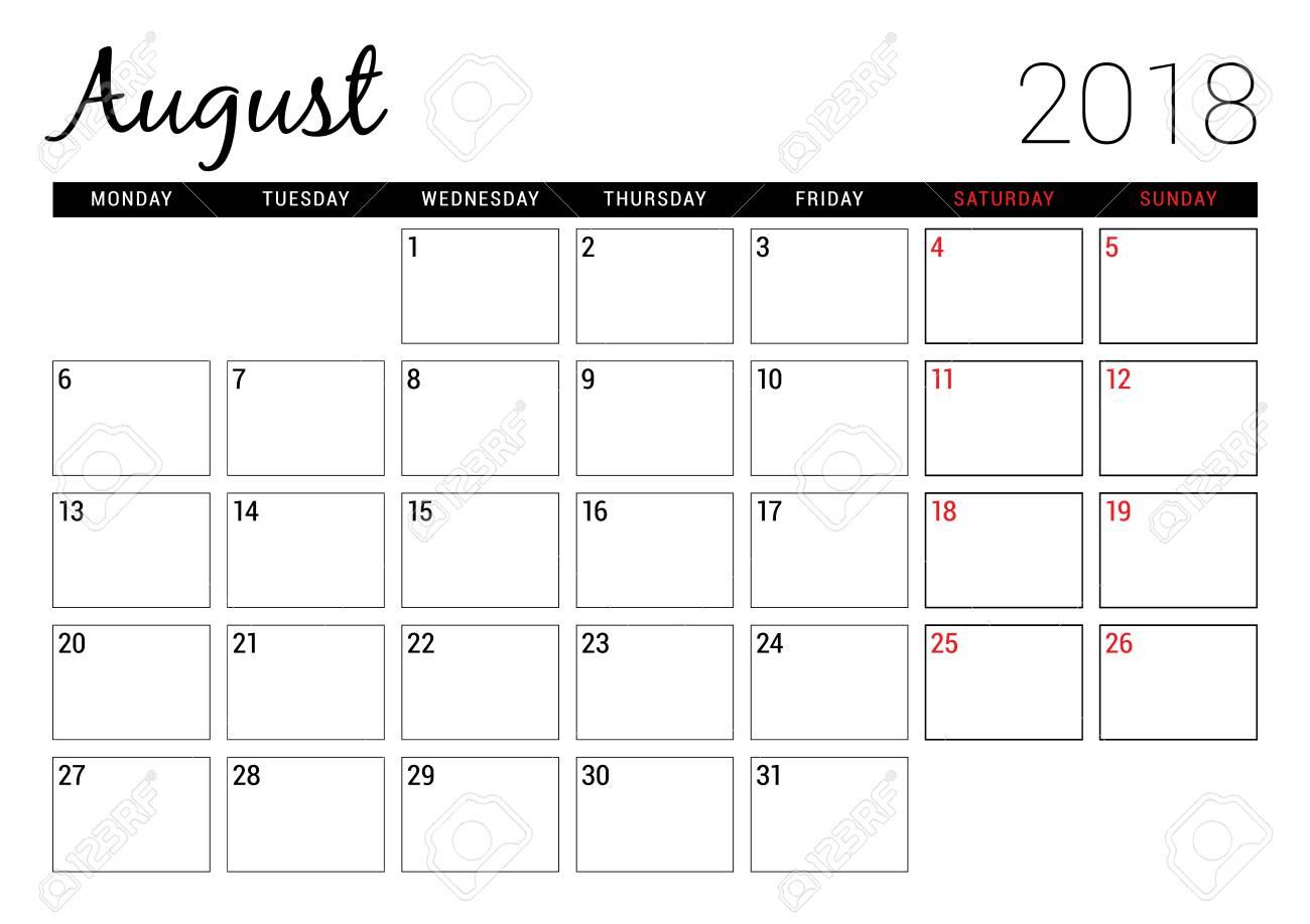 August 2018 Printable Calendar Planner Design Template Week