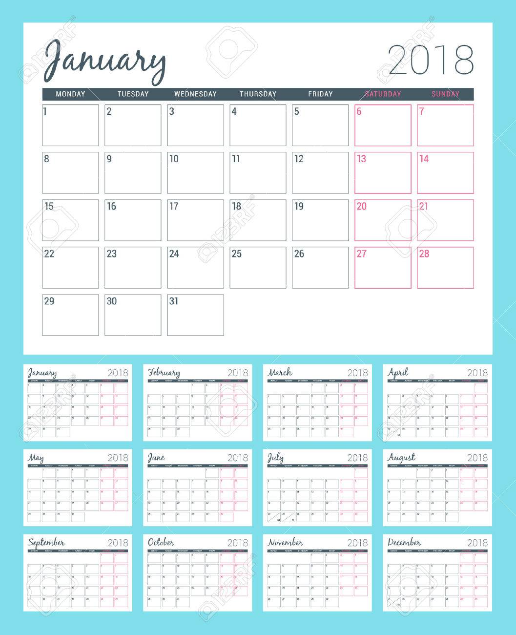 printable calendar for 2018 year planner design template week starts on monday stationery