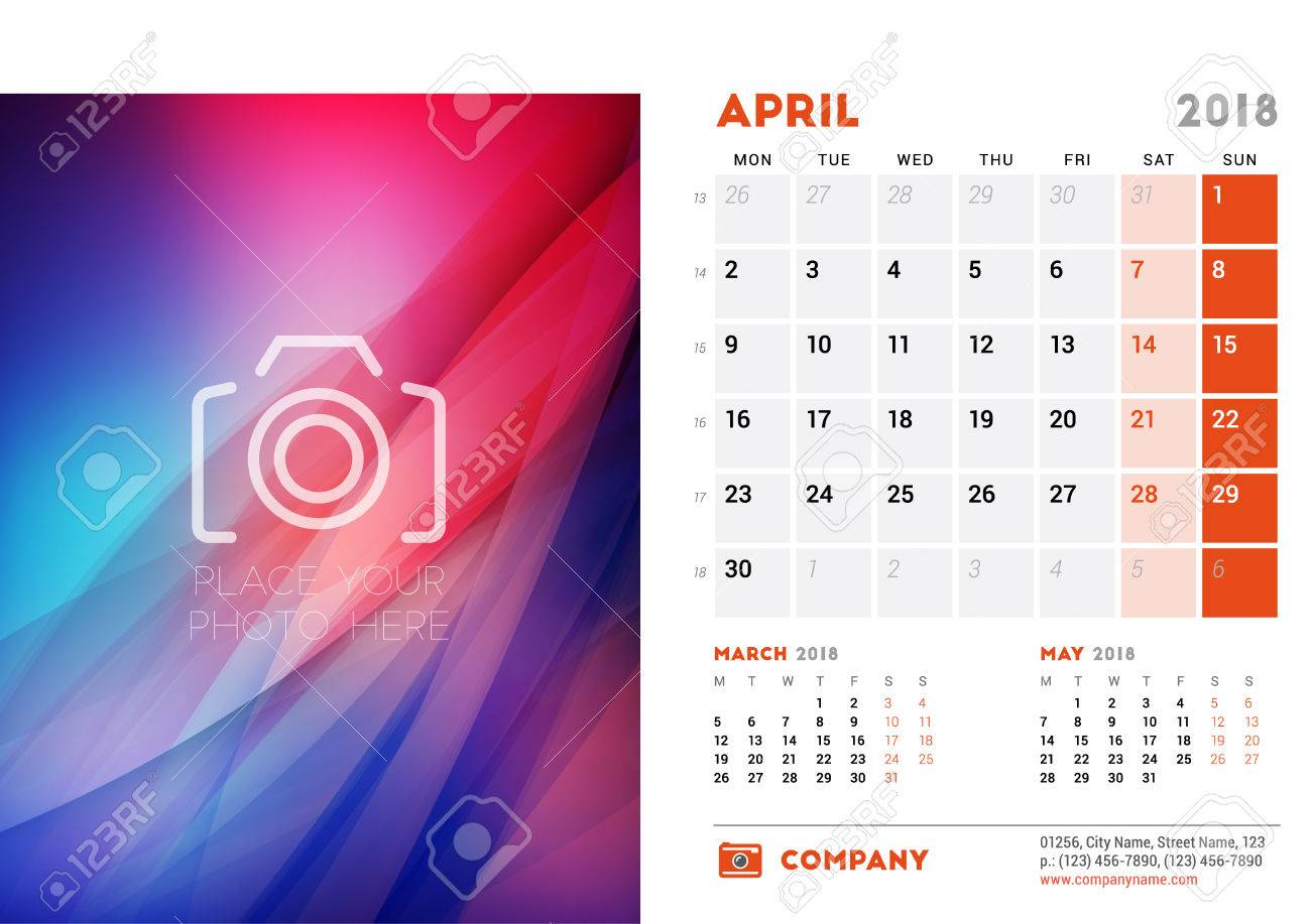 April 2018 Desk Calendar Design Template With Colorful Abstract