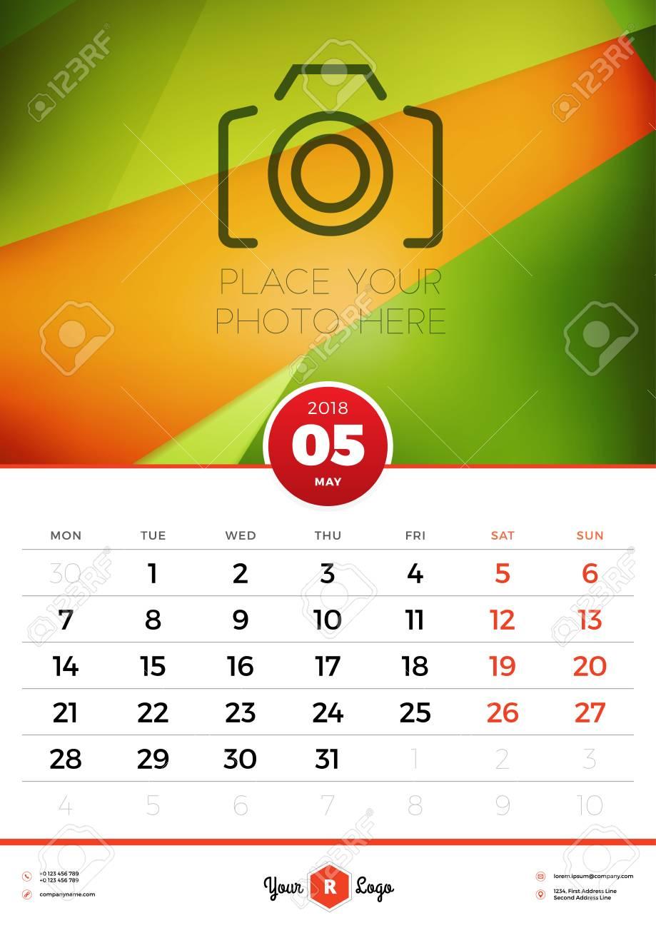 Plantilla Del Calendario De Pared Para El Año 2018. Mayo. Plantilla ...