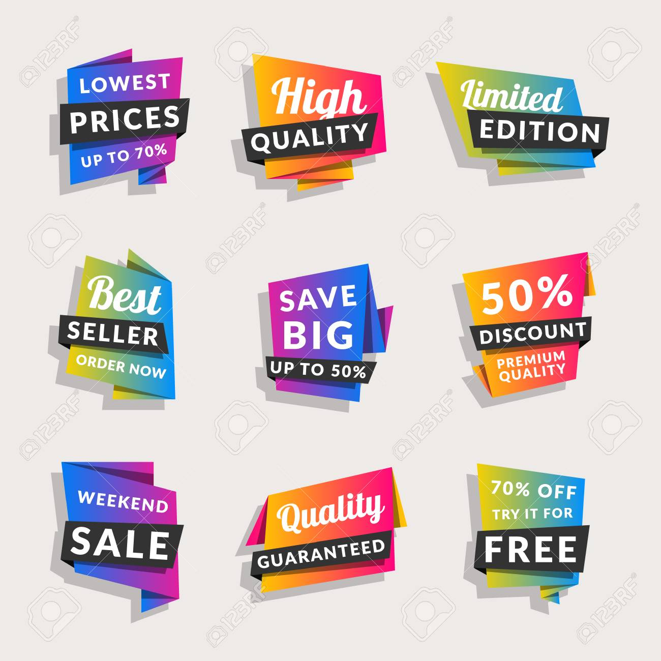 Discount and promotional colorful origami stickers vector