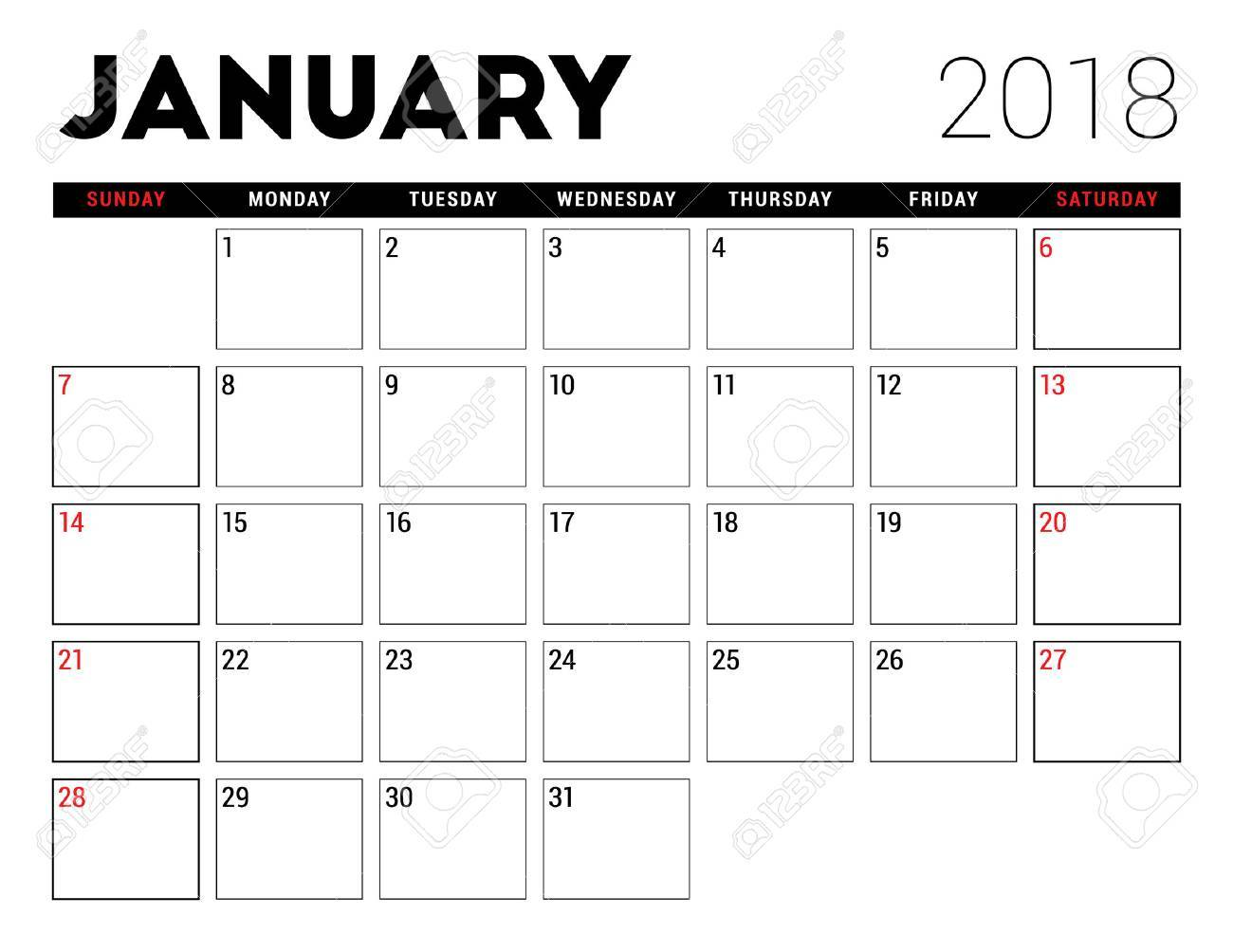 january 2018 free calendar