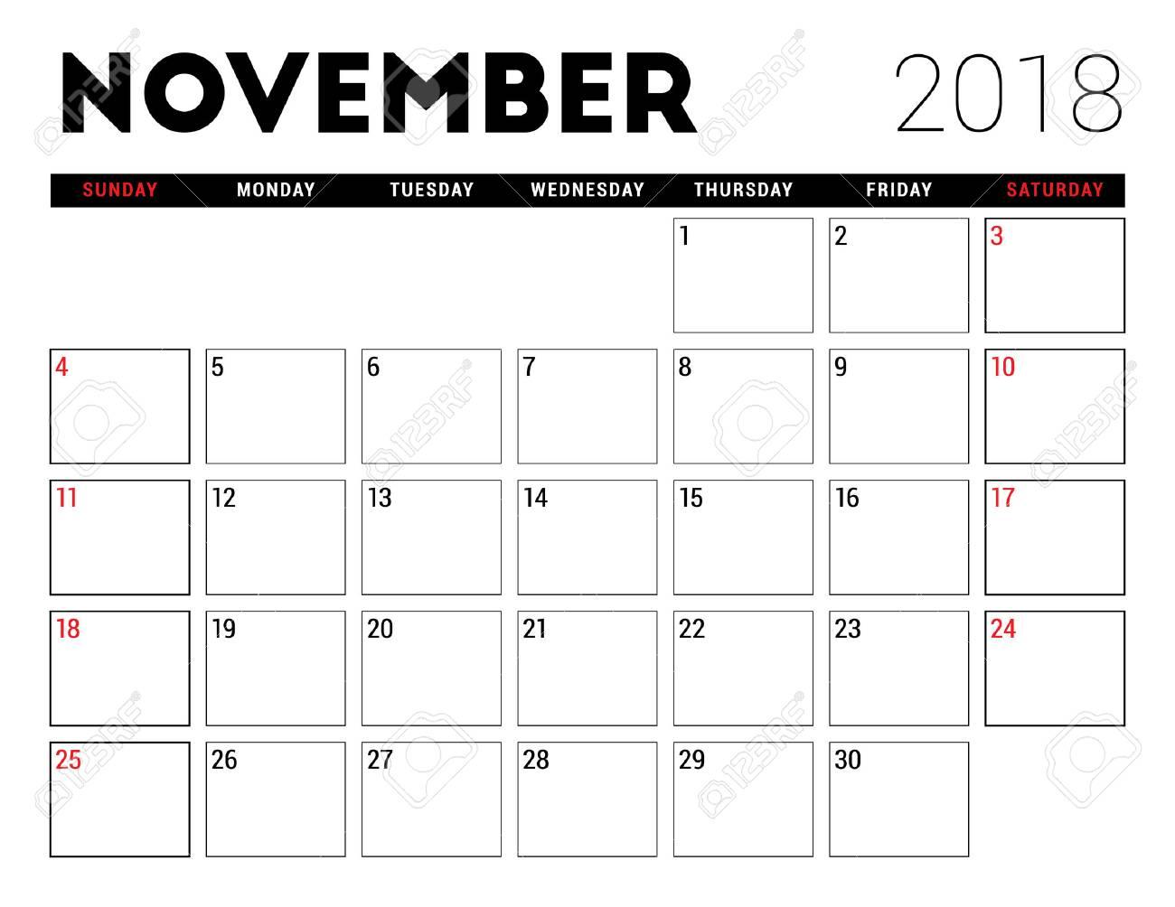 2018 年 11 月印刷可能なカレンダー プランナーのデザイン テンプレート