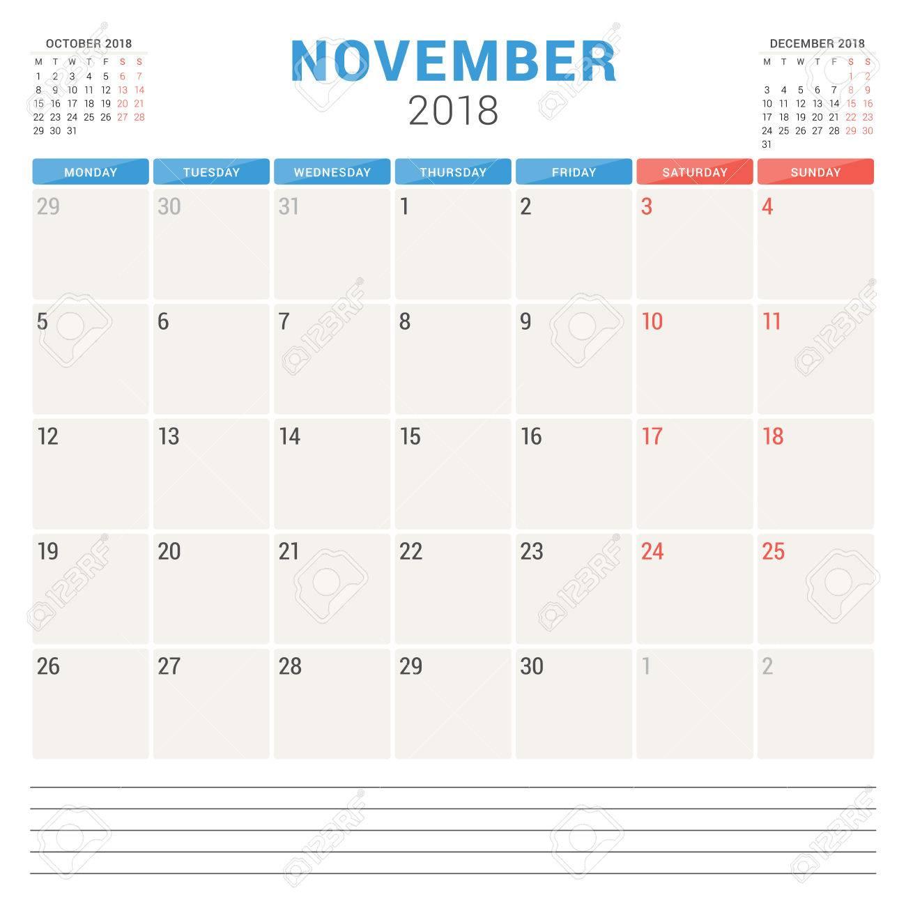 Calendrier Hebreu.Novembre Planner Calendrier Vecteur De Conception De Modele Conception De Semaine Sur La Conception De La Papeterie En Hebreu