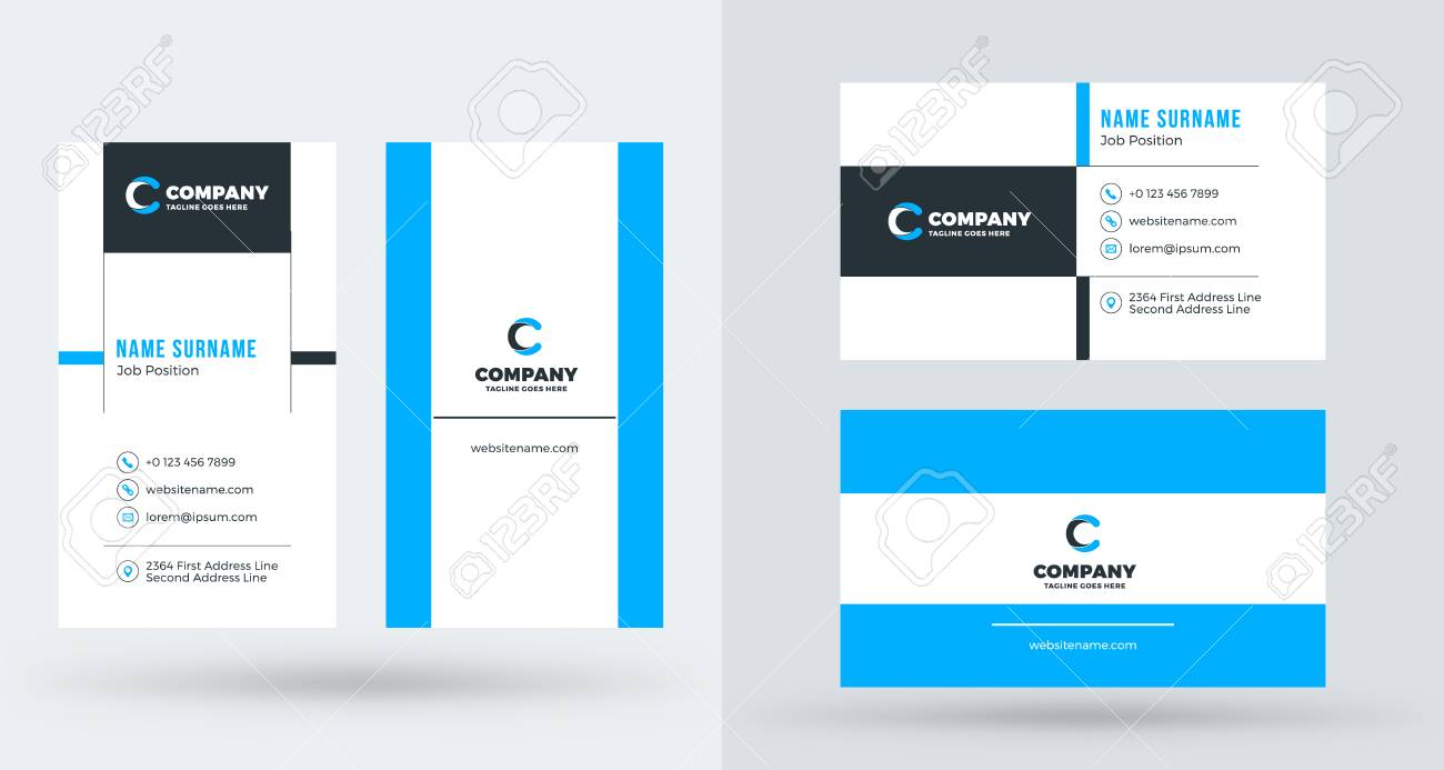 double sided creative business card template portrait and