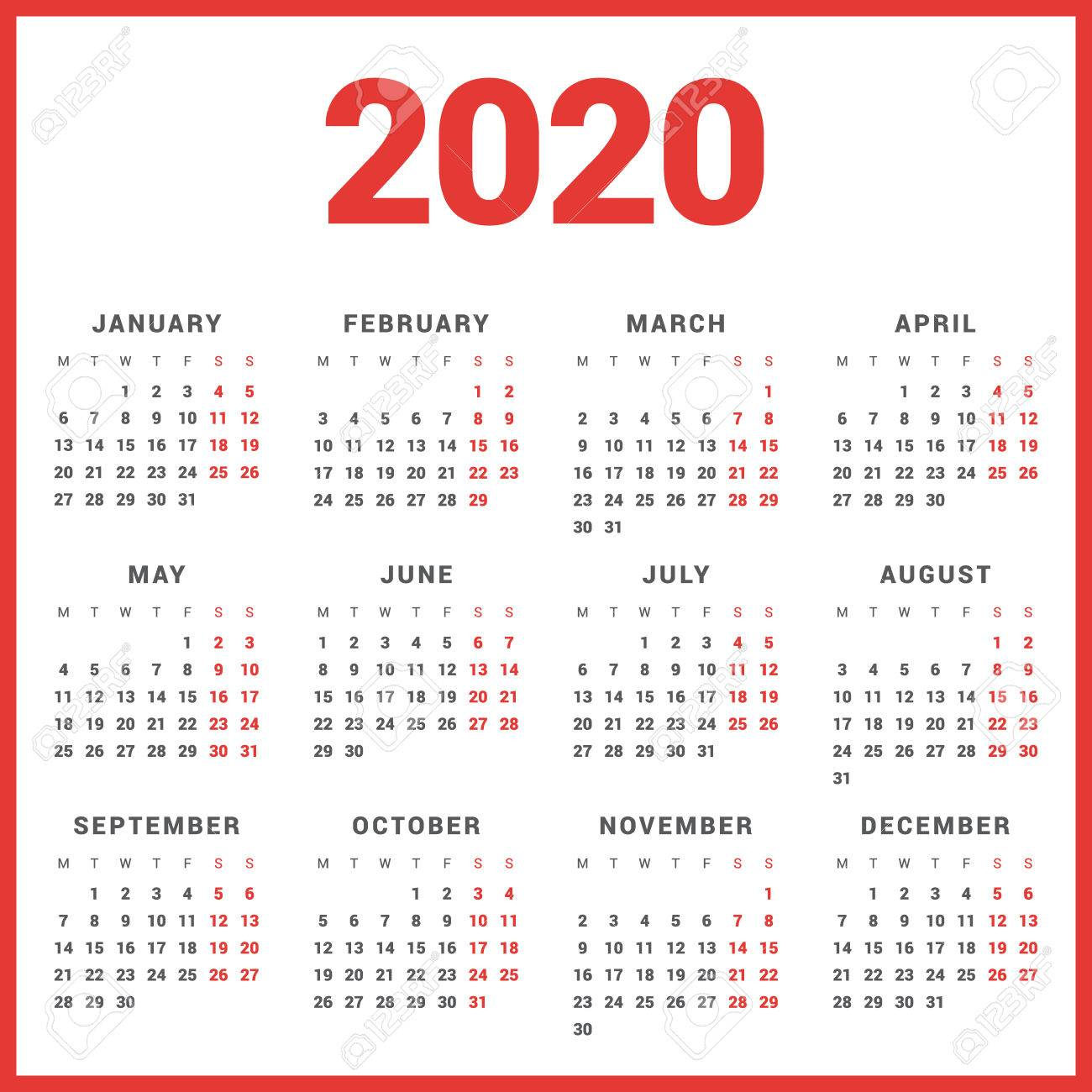 Modello Calendario 2020.Calendar For 2020 Year On White Background Week Starts Monday