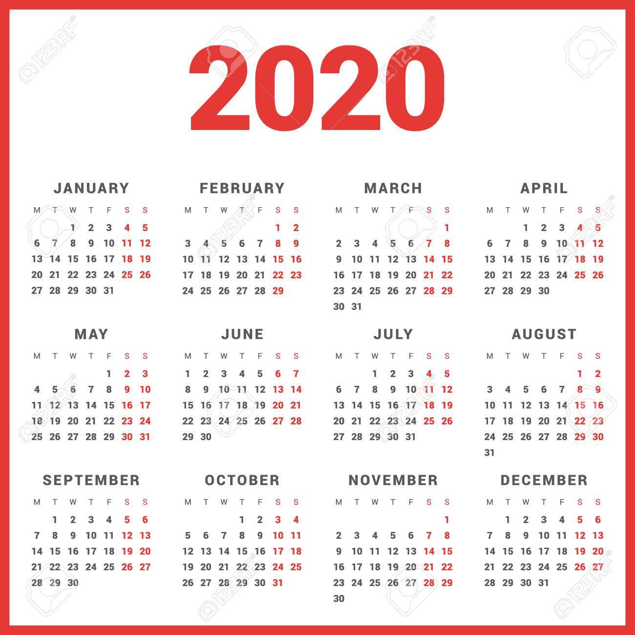 Ano 2020 Calendario.Calendario Para El Ano 2020 En El Fondo Blanco La Semana Comienza El Lunes Plantilla Simple Del Vector Plantilla De Diseno De Papeleria