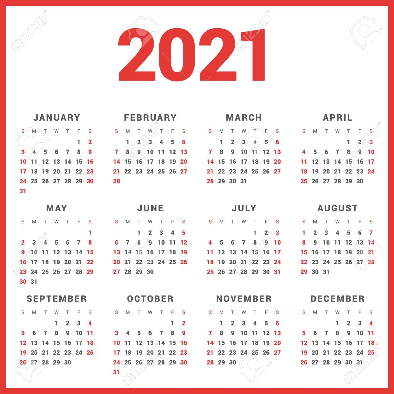 Calendar For 2021 Year On White Background. Week Starts Sunday