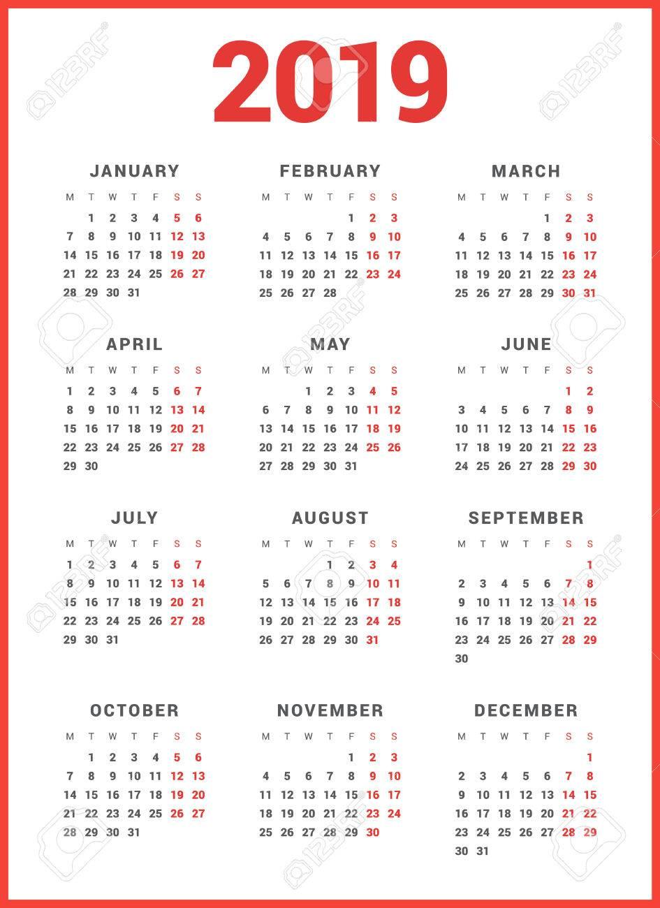 Modelli Calendario 2019.Calendario Per L Anno 2019 Su Sfondo Bianco La Settimana Inizia Lunedi Modello Vettoriale Semplice Modello Di Disegno Della Cancelleria