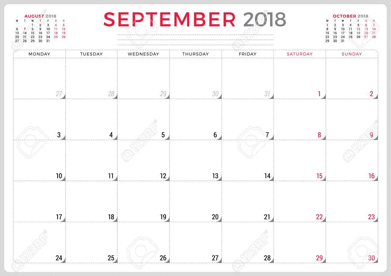 Septiembre De 2018. Plantilla De Diseño De Planificador De ...
