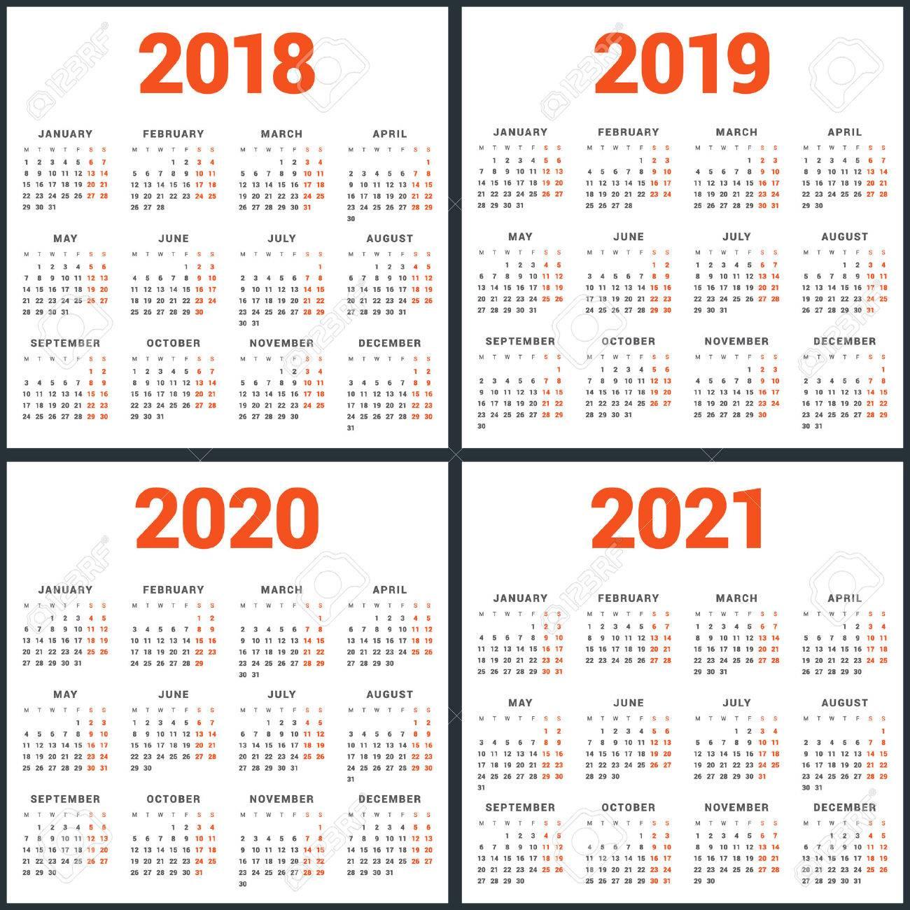 Calendrier 2021 Avec Semaine.Ensemble De Calendriers Pour 2018 2019 2020 2021 Ans La Semaine Commence Le Lundi Modele De Vecteur Simple Modele De Conception De Papeterie