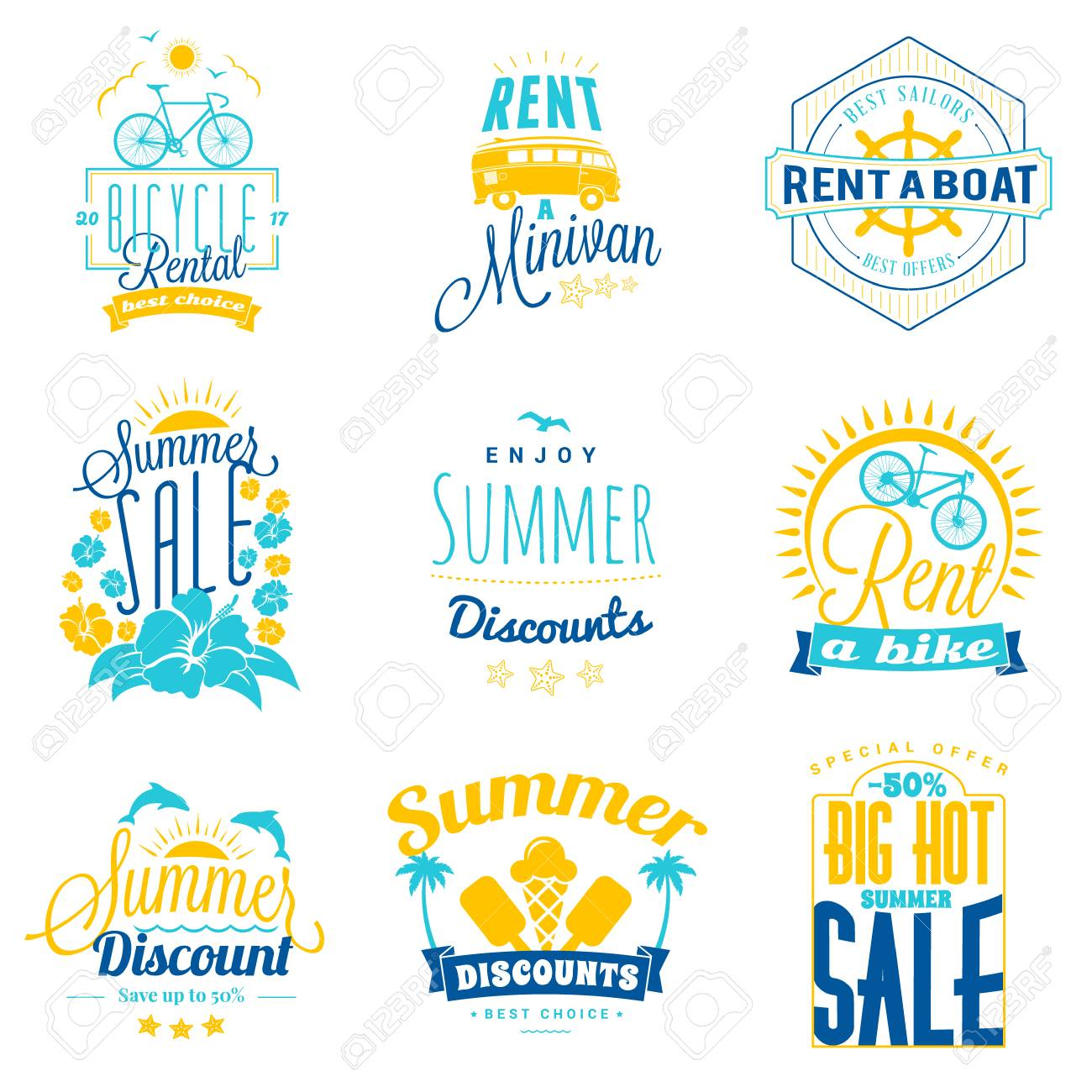 90aeaba8f Set of summer sale promotional emblem design. Typographic retro style summer  advertising badges for banner