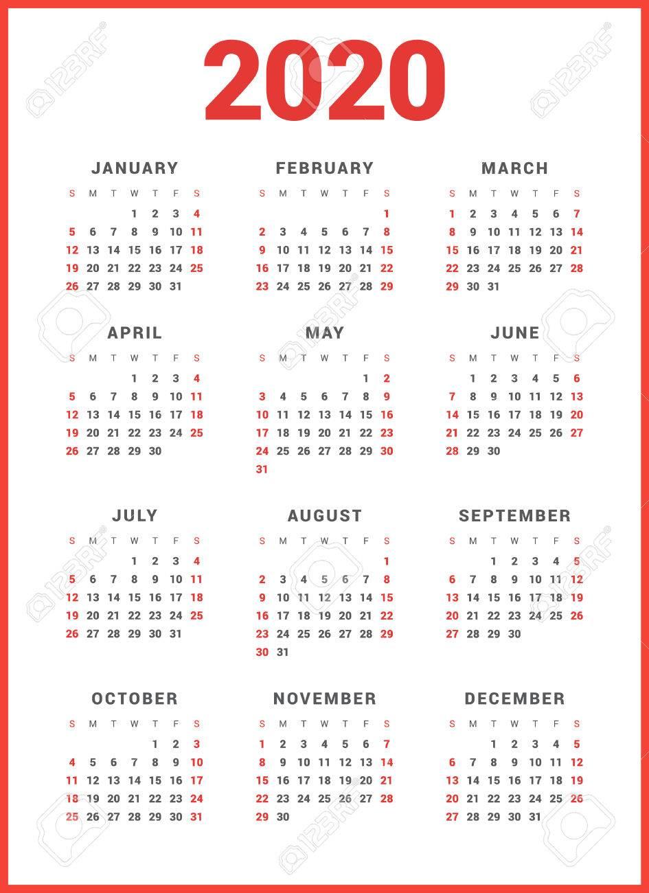 2020 Sunday Calendar Calendar For 2020 Year On White Background. Week Starts Sunday