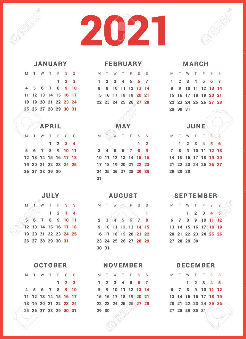 calendar for 2021 year on white background week starts monday simple vector template