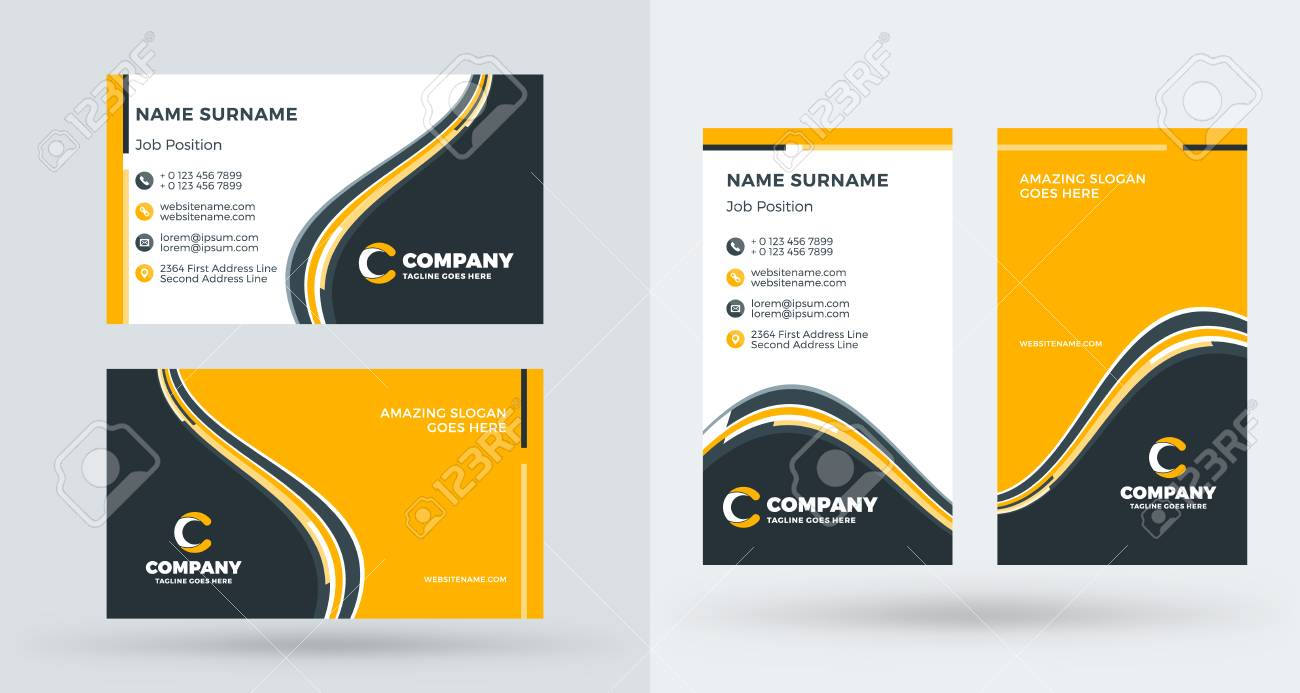 Double sided creative business card template portrait and landscape double sided creative business card template portrait and landscape orientation horizontal and vertical accmission Image collections