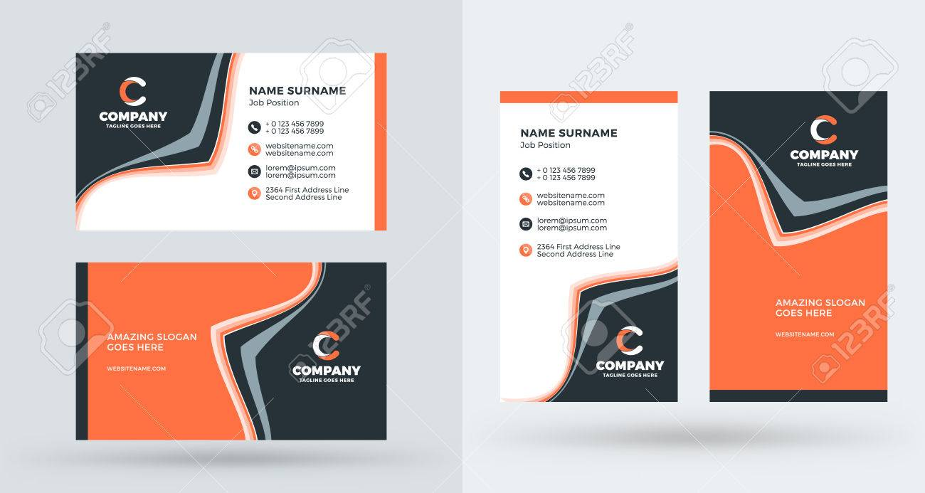 Double sided creative business card template portrait and landscape double sided creative business card template portrait and landscape orientation horizontal and vertical colourmoves