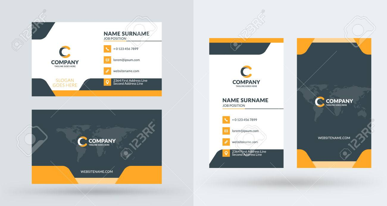 Double sided creative business card template portrait and landscape double sided creative business card template portrait and landscape orientation horizontal and vertical wajeb Gallery