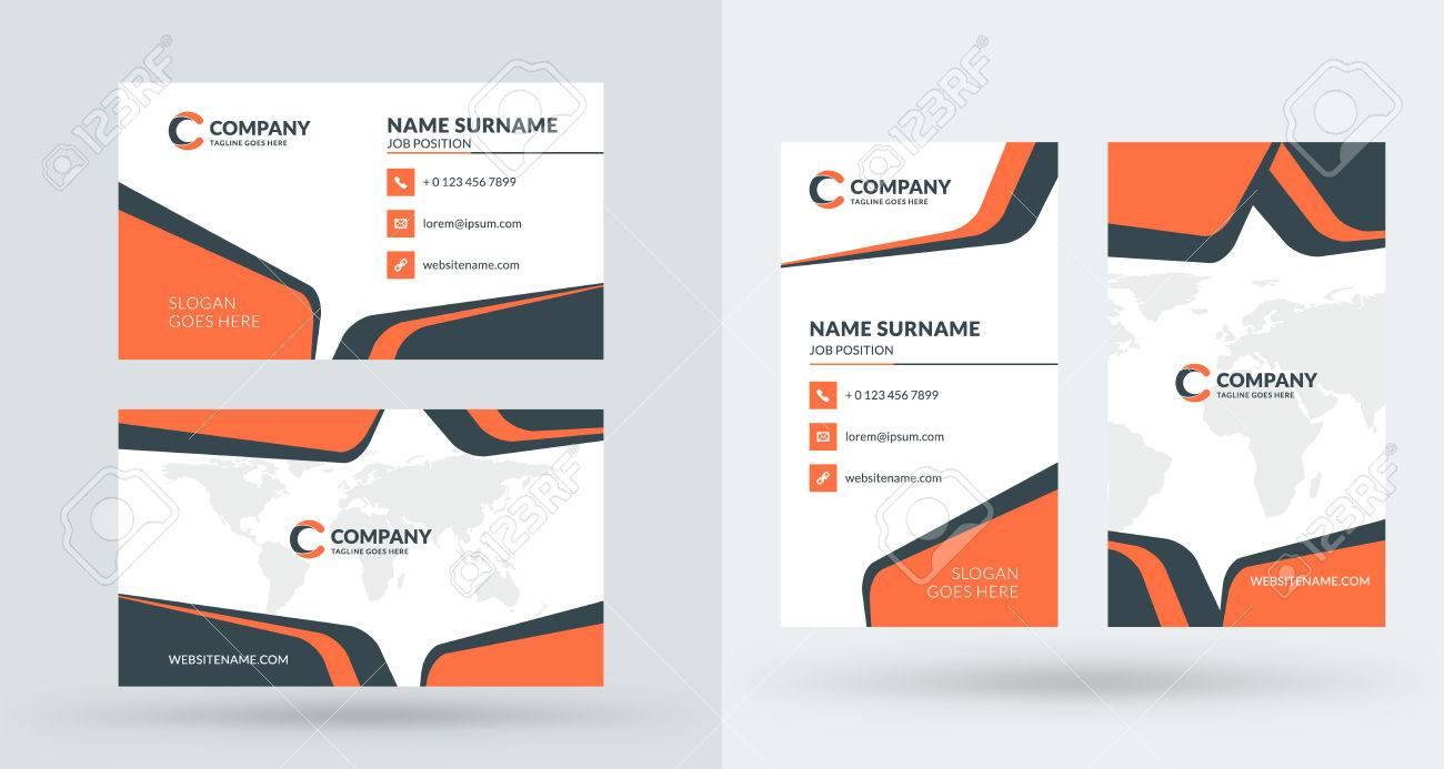 Doublesided Creative Business Card Template Portrait And Landscape - Portrait business card template