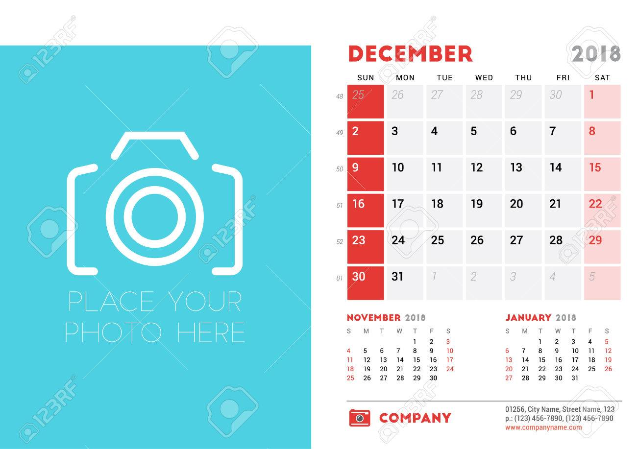 December 2018 Desk Calendar Design Template With Place For Photo