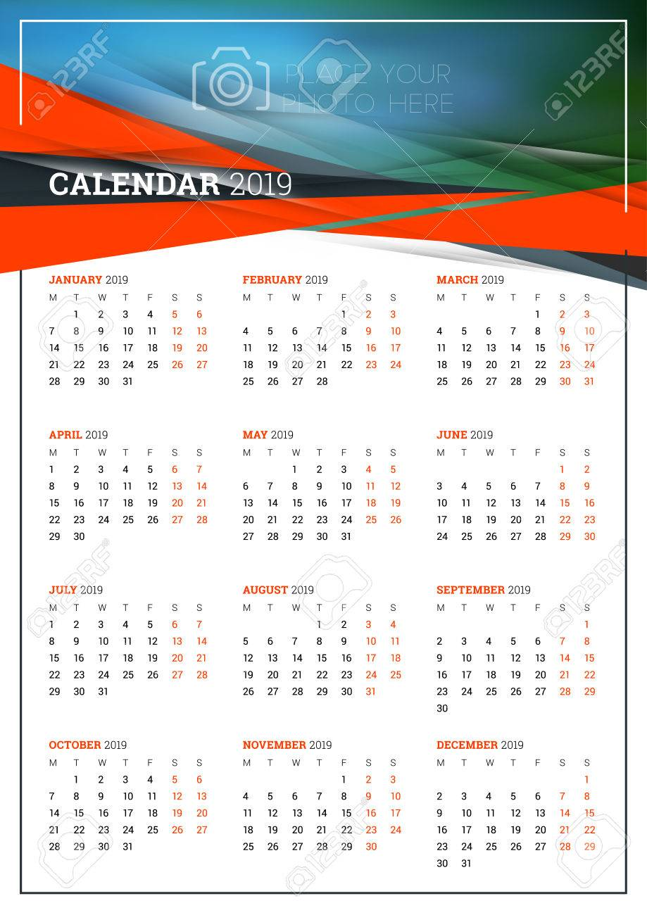 vector calendar poster a3 size for 2019 year week starts on
