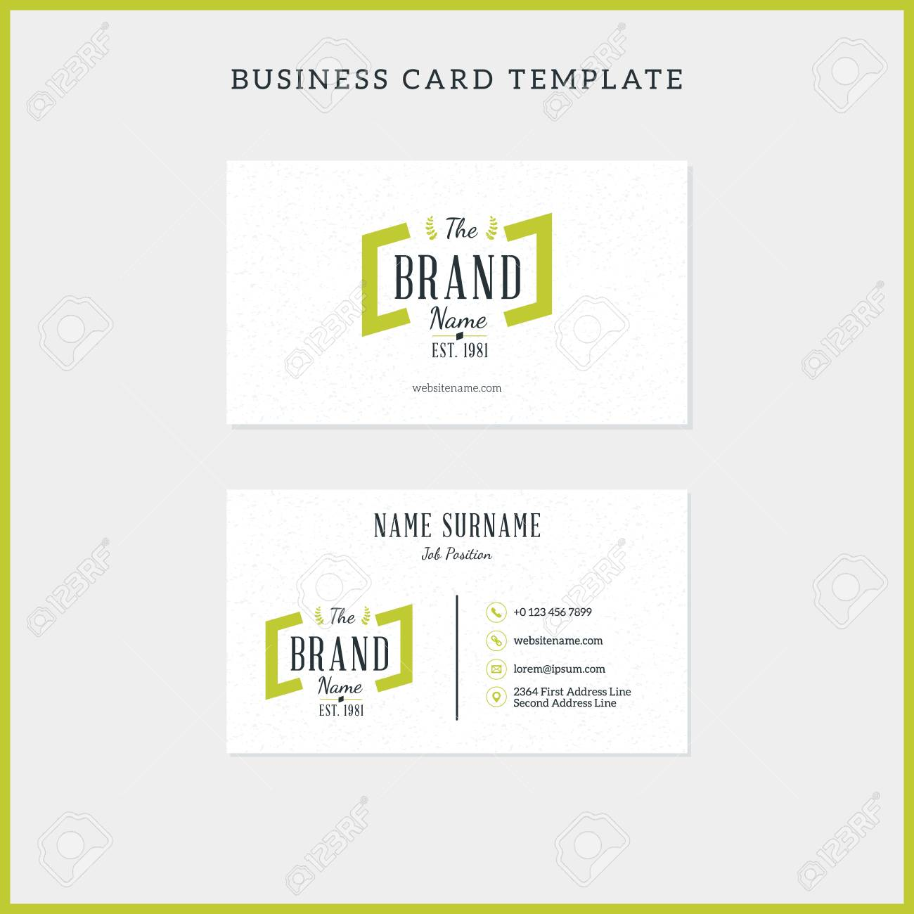Double sided vintage business card template with retro typographic double sided vintage business card template with retro typographic logo and textured background vector flashek Choice Image