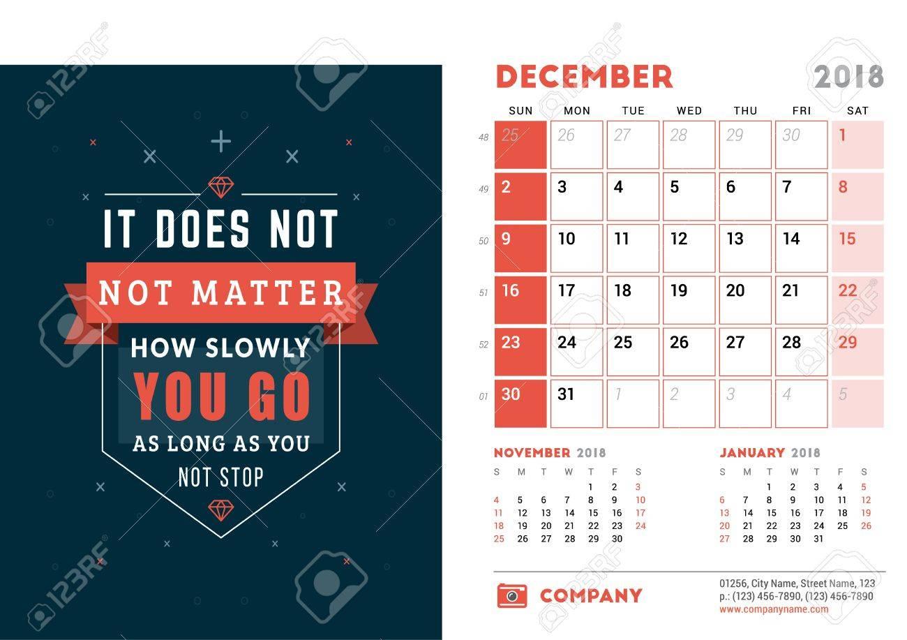 Calendar Design Quote : Desk calendar template for year december design template