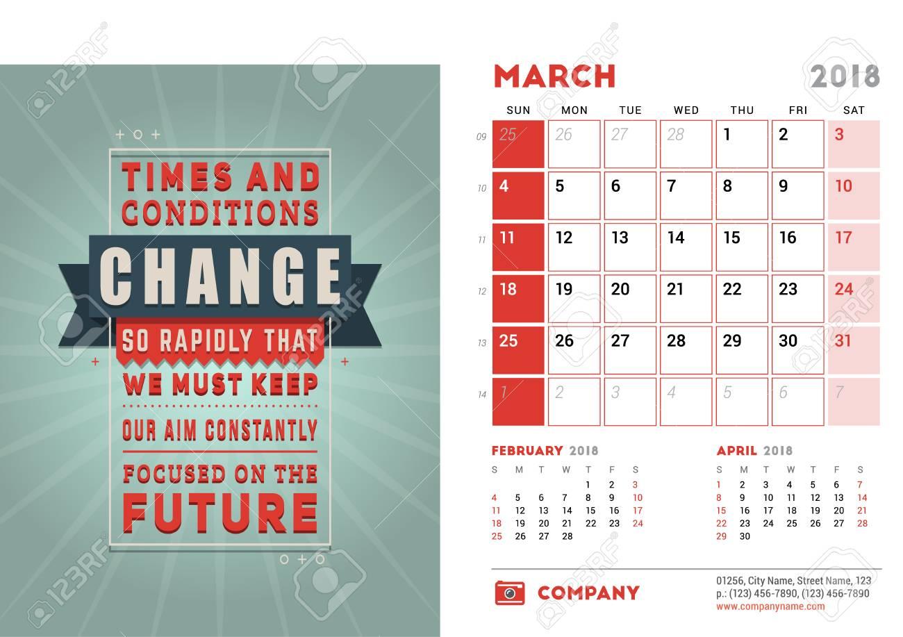 Calendar Design Quote : Desk calendar template for year march design template