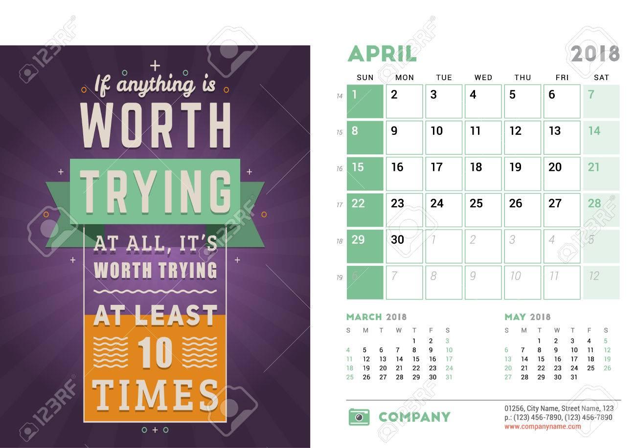 Calendar Design Quote : Desk calendar template for year april design template