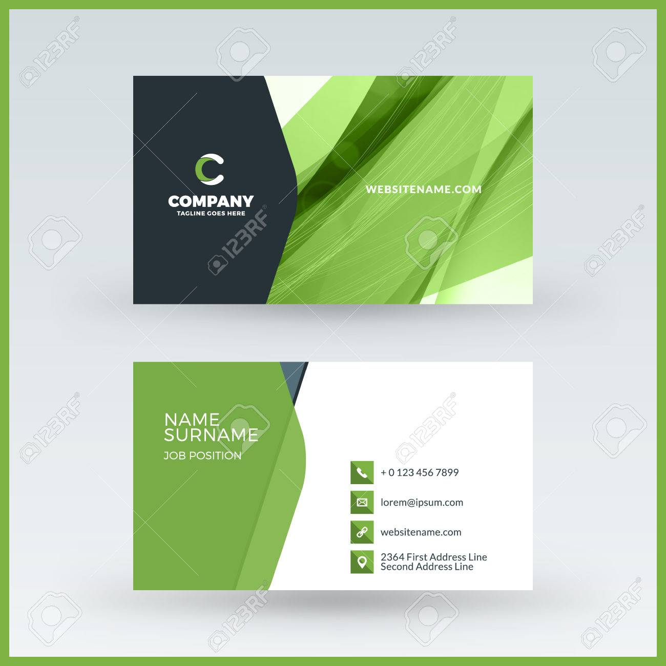 Double sided horizontal business card template vector mockup double sided horizontal business card template vector mockup illustration stationery design stock vector wajeb Images