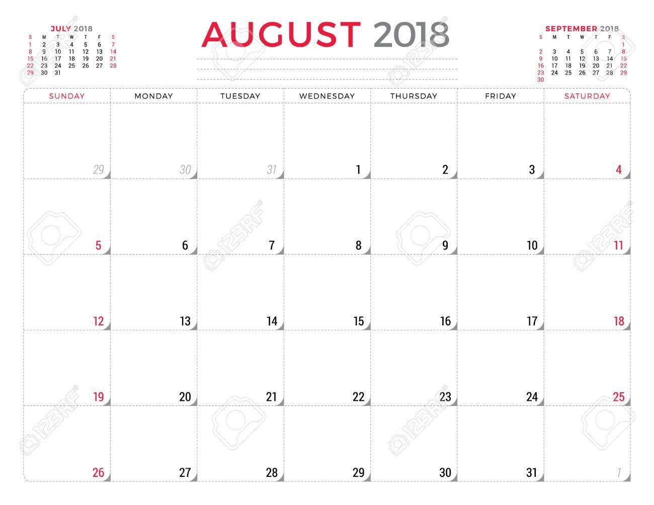 August 2018  Calendar planner design template  Week starts on