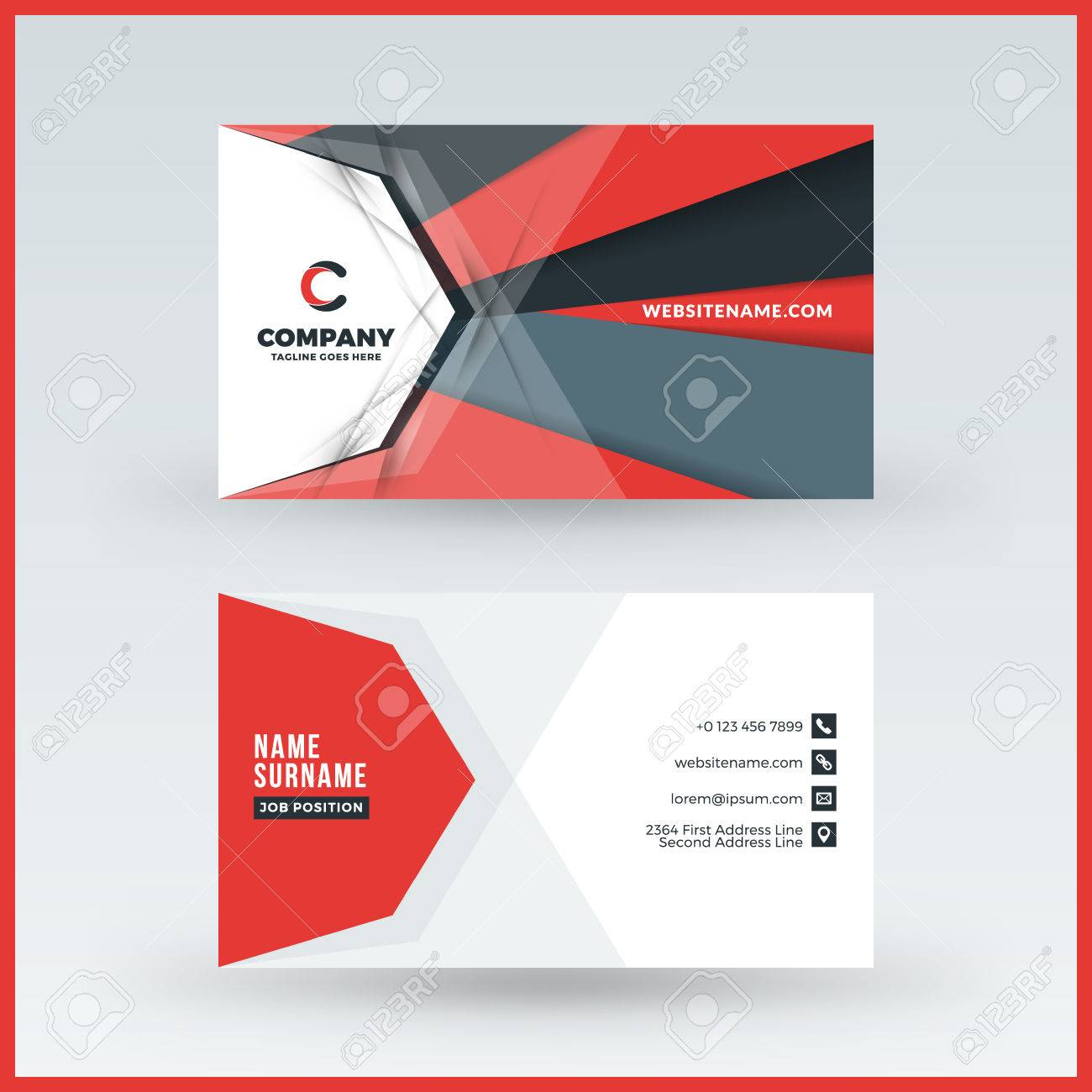 Doublesided Horizontal Business Card Template Vector Mockup - Horizontal business card template