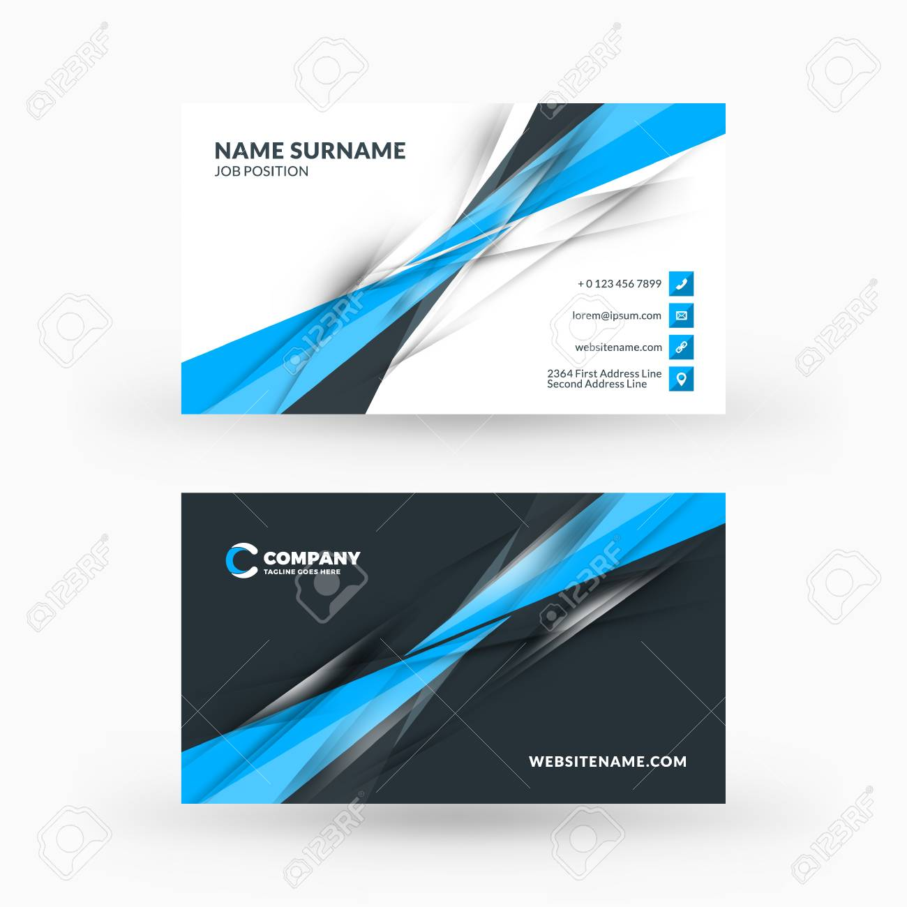 creative and clean double sided business card vector template