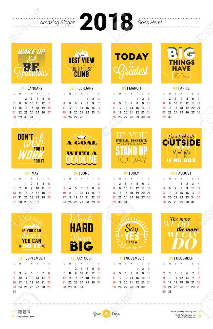 Calendar Poster Template For 2018 Year. Week Starts Sunday ...