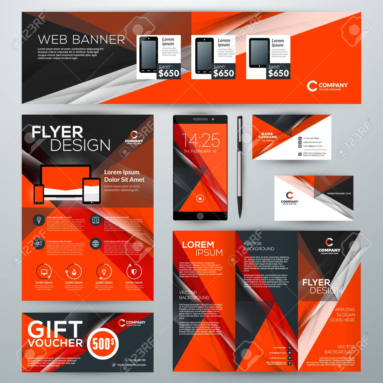 set of stationery design templates corporate identity with abstract