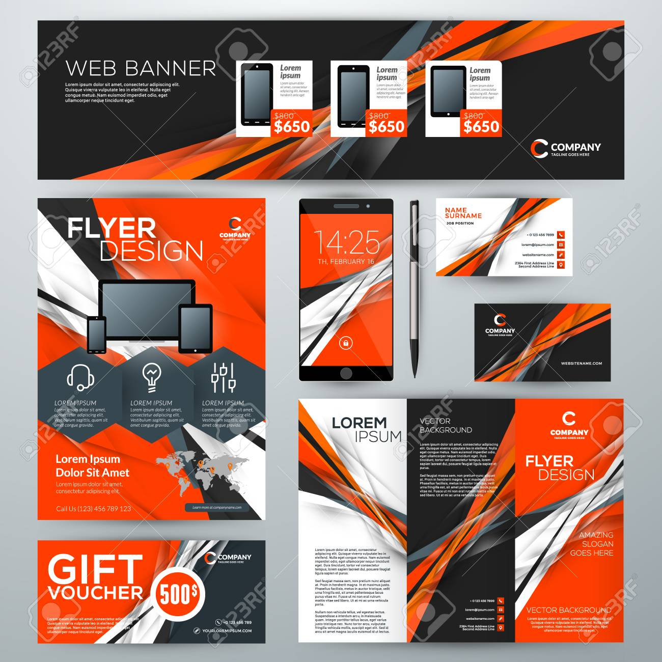 Set of stationery design templates corporate identity with abstract set of stationery design templates corporate identity with abstract vector background web banner accmission Images
