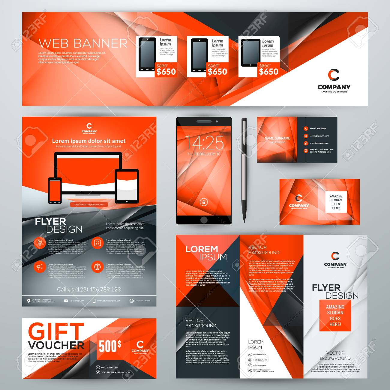 Set of stationery design templates corporate identity with abstract set of stationery design templates corporate identity with abstract vector background web banner accmission Image collections