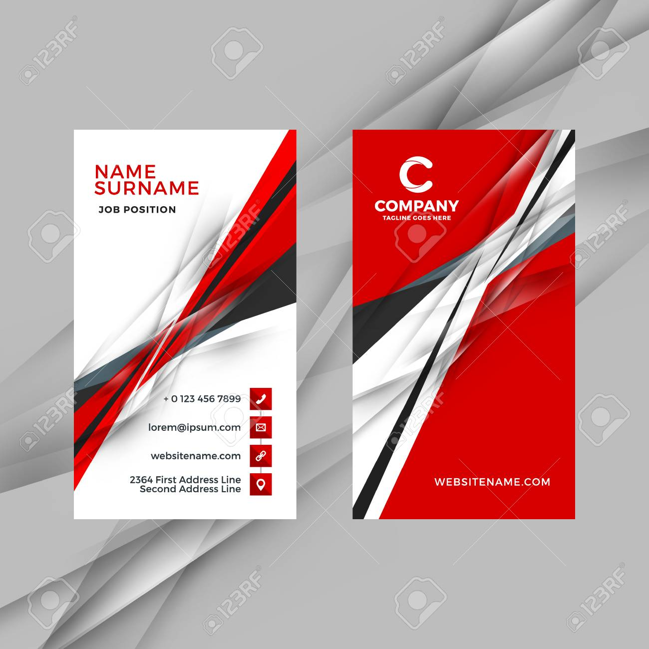Vertical double-sided red and black business card template. Vector illustration. Stationery design - 84144655