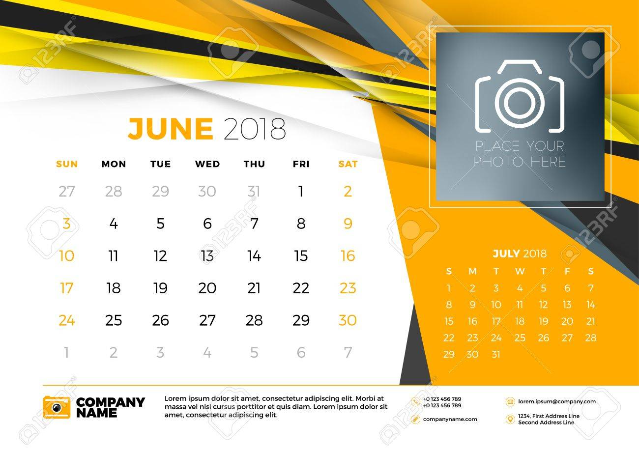June 2018 Desk Calendar Design Template With Abstract Background