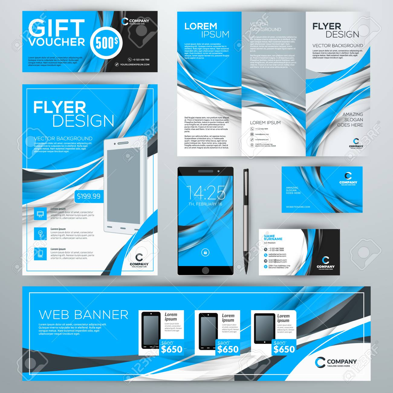 Set Of Stationery Design Templates. Corporate Identity With Abstract ...