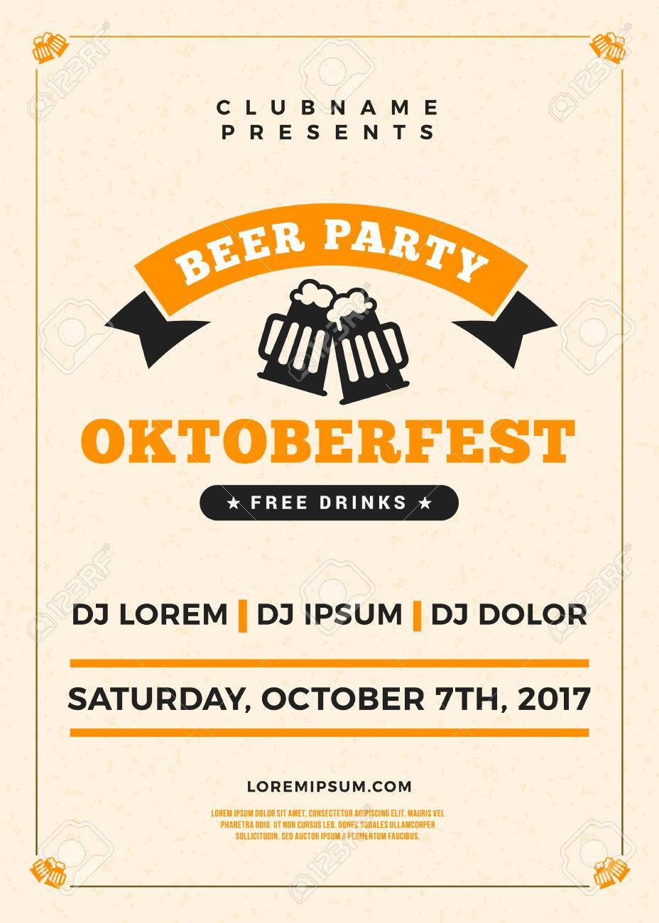 Oktoberfest Bierfest Feier. Typografie Poster Oder Flyer Vorlage Für ...