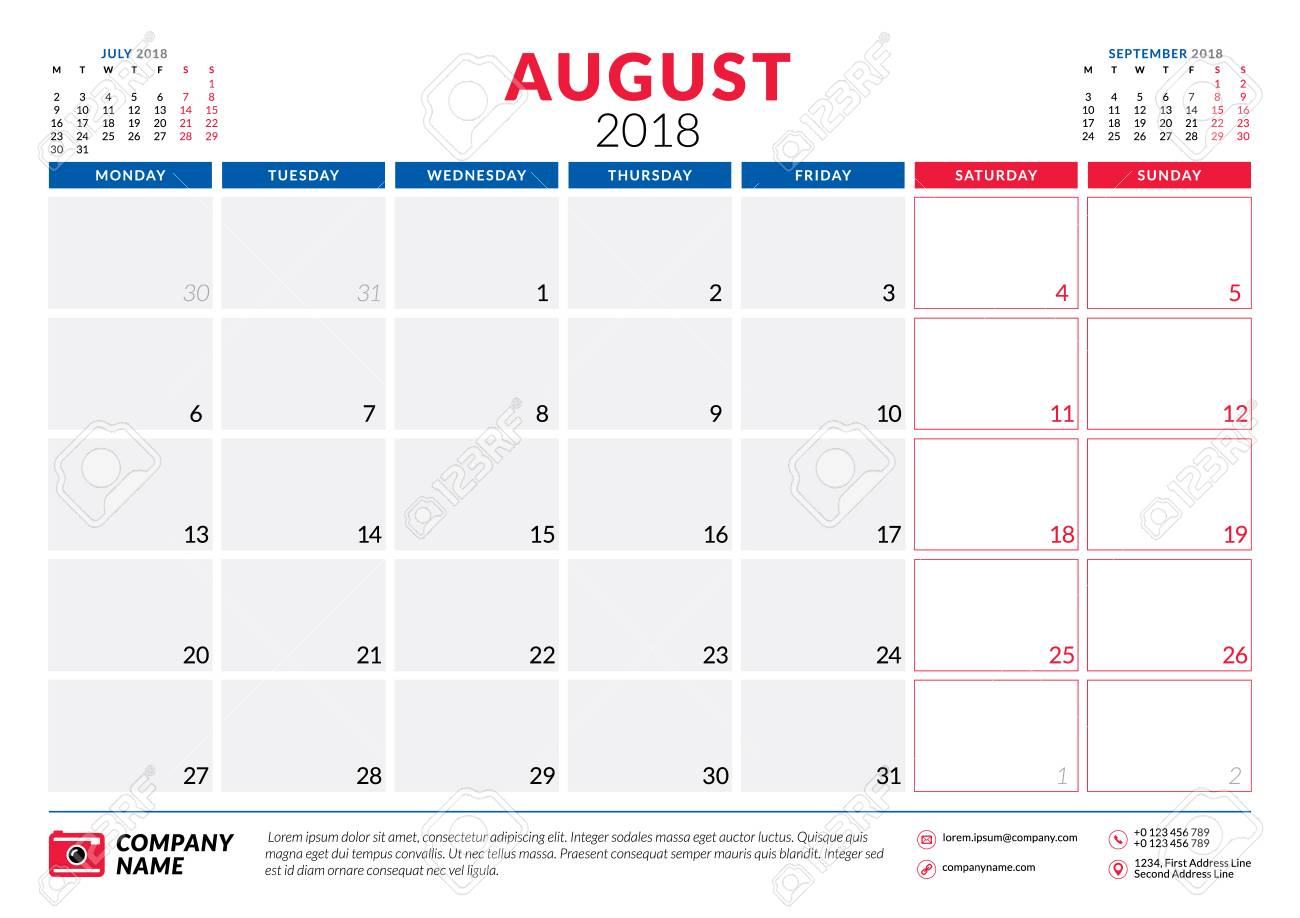 august 2018 calendar planner design template week starts on monday stationery design stock
