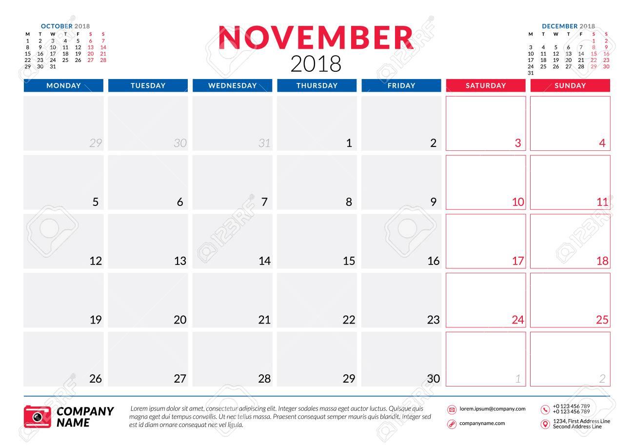 november 2018 calendar planner design template week starts on monday stationery design stock