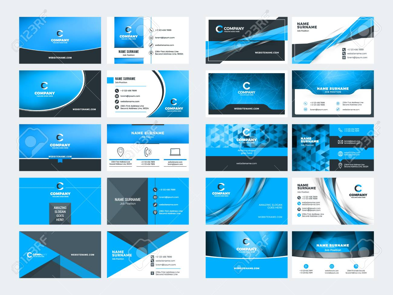 double sided business card templates blue color theme stationery