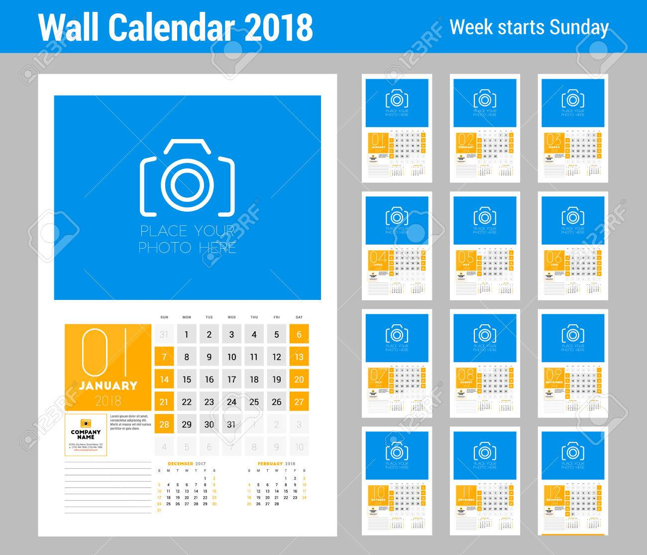 Wall Calendar Template For 2018 Year Set Of 12 Months Vector