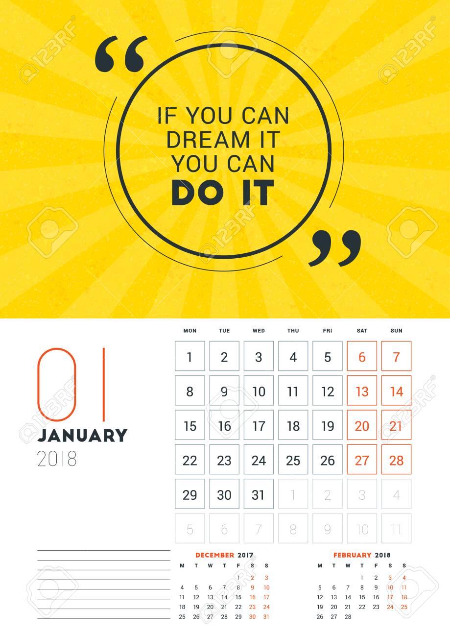 Plantilla De Calendario De Pared Para Enero De 2018. Vector ...